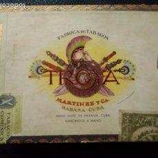 Cajas de Puros: CAJA DE PUROS HABANOS TROYA MARTINEZ Y CIA HABANA MADE IN HAVANA CUBA VACIA. Lote 75936683