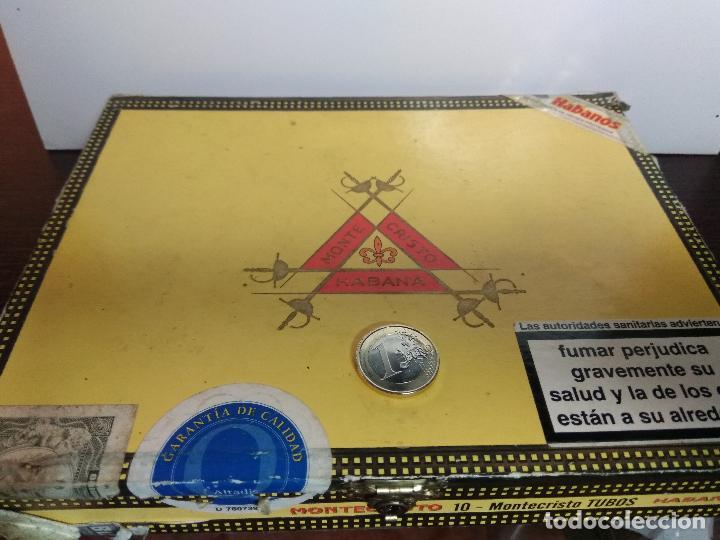 CAJA DE MADERA PUROS MONTE CRISTO HABANA TUBOS (Coleccionismo - Objetos para Fumar - Cajas de Puros)