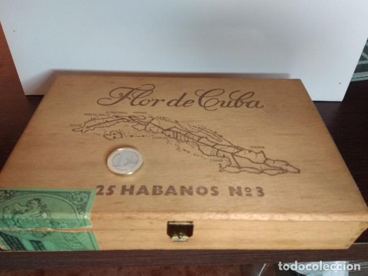 CAJA DE MADERA PUROS FLOR DE CUBA Nº 3 (Coleccionismo - Objetos para Fumar - Cajas de Puros)
