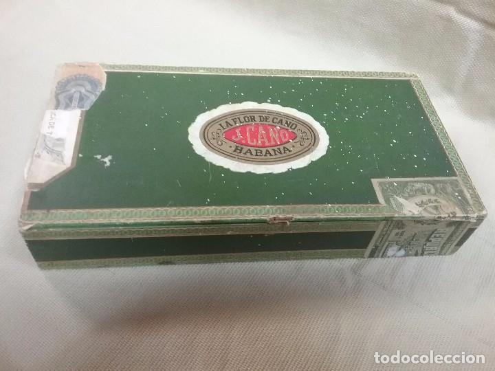 CAJA DE MADERA VACIA DE PUROS LA FLOR DE CANO - J. CANO - HABANA - 25 PREDILECTOS TUBULARES (Coleccionismo - Objetos para Fumar - Cajas de Puros)