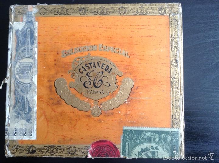 CAJA CIGARROS PUROS CASTAÑEDA. PALMAS FINAS 25. CUBA HABANA LEY JULIO 16/1912 (Coleccionismo - Objetos para Fumar - Cajas de Puros)