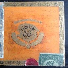 Cajas de Puros: CAJA CIGARROS PUROS CASTAÑEDA. PALMAS FINAS 25. CUBA HABANA LEY JULIO 16/1912. Lote 115070852