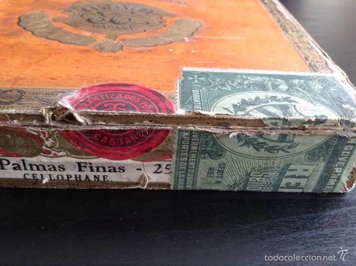 Cajas de Puros: Caja cigarros puros Castañeda. Palmas Finas 25. Cuba Habana Ley Julio 16/1912 - Foto 2 - 115070852