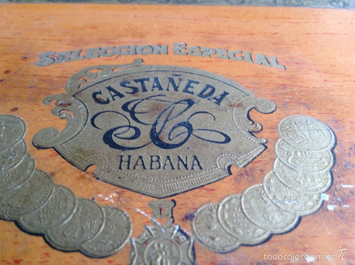 Cajas de Puros: Caja cigarros puros Castañeda. Palmas Finas 25. Cuba Habana Ley Julio 16/1912 - Foto 3 - 115070852