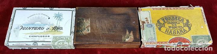 LOTE DE 3 CAJAS DE PUROS EN MADERA. LA HABANA. CUBA. PRINCIPOS SIGLO XX. (Coleccionismo - Objetos para Fumar - Cajas de Puros)