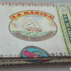 Cajas de Puros: CAJA DE PUROS LA MARINA - JUAN MARTÍN PÉREZ - VACÍA - RARA -. Lote 87603550
