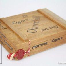 Cajas de Puros: CAJA DE MADERA COMPLETA, 20 CIGARROS / PUROS DE TABACO - CIGARS CHURCHILL. MORNING - RAREZA. Lote 89950016