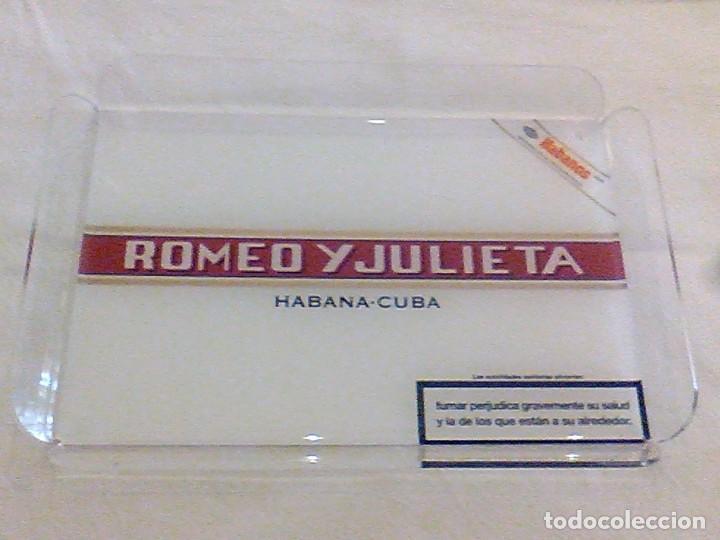 ROMEO Y JULIETA HABANA CUBA BANDEJA METRAQUILATO EXPOSITORA PUROS HABANOS 28 X 20 X 3 CM (Coleccionismo - Objetos para Fumar - Cajas de Puros)