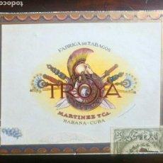 Cajas de Puros: CAJA DE MADERA PUROS TROYA MARTÍNEZ Y CA HABANA CUBA VACIA. Lote 107084492