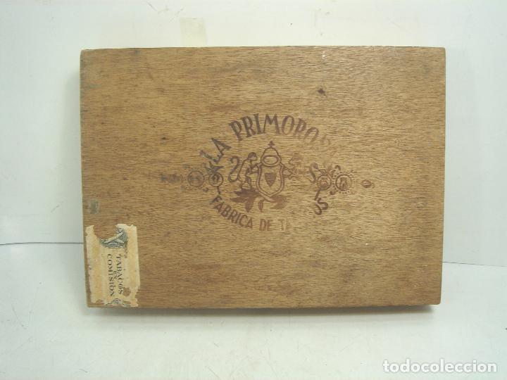 ANTIGUA CAJA DE PUROS MADERA-LA PRIMOROSA-25 MEDIAS CORONAS -BOCETON-25 PETIT CORONAS- PURO TABACO (Coleccionismo - Objetos para Fumar - Cajas de Puros)