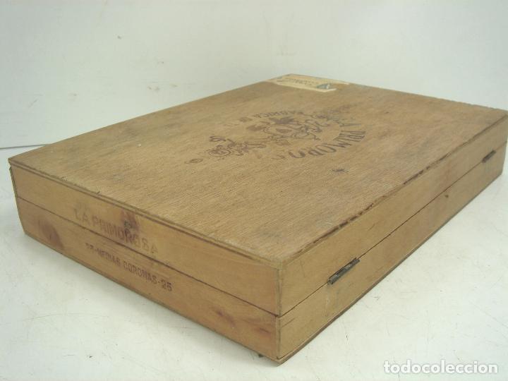 Cajas de Puros: ANTIGUA CAJA DE PUROS MADERA-LA PRIMOROSA-25 MEDIAS CORONAS -BOCETON-25 PETIT CORONAS- PURO TABACO - Foto 5 - 107350975