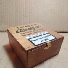 Cajas de Puros: TABACOS CASAMAYOR. CAJA MADERA PUROS DE CANARIAS. 50 MINI CIGARRILLOS. VACÍA.. Lote 108144016