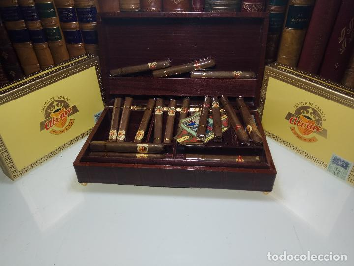 GRAN LOTE COMPUESTO POR DOS CAJAS DE PUROS ALVARO CERRADOS, 25 SALUDOS + 25 DON ALVAROS Y MUCHO MAS (Coleccionismo - Objetos para Fumar - Cajas de Puros)