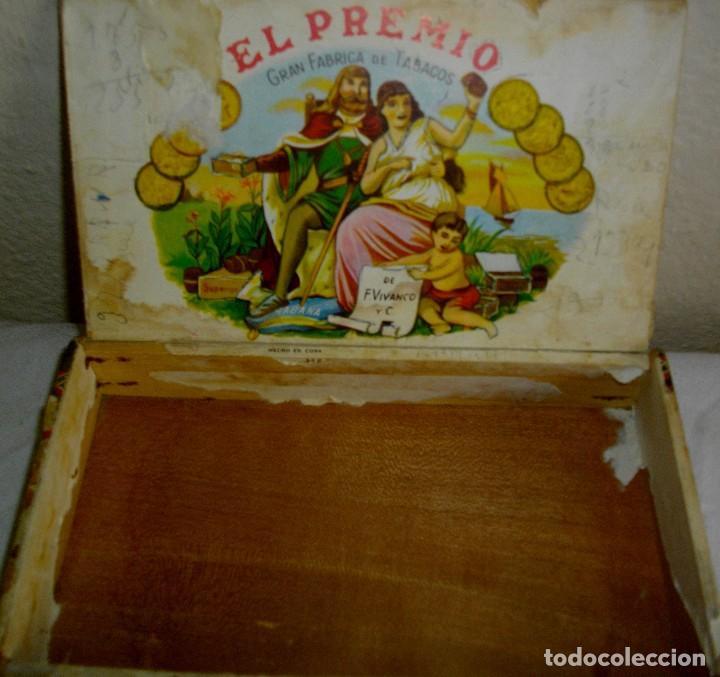 Cajas de Puros: CAJA PEQUEÑA DE PUROS HABANOS EL PREMIO (VACIA) PRE-REVOLUCION - Foto 2 - 110185807