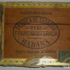 Cajas de Puros: CAJA DE PUROS HABANOS .-CUBA LA FLOR DE FARACHS (VACIA) PRE REVOLUCION. Lote 110190735