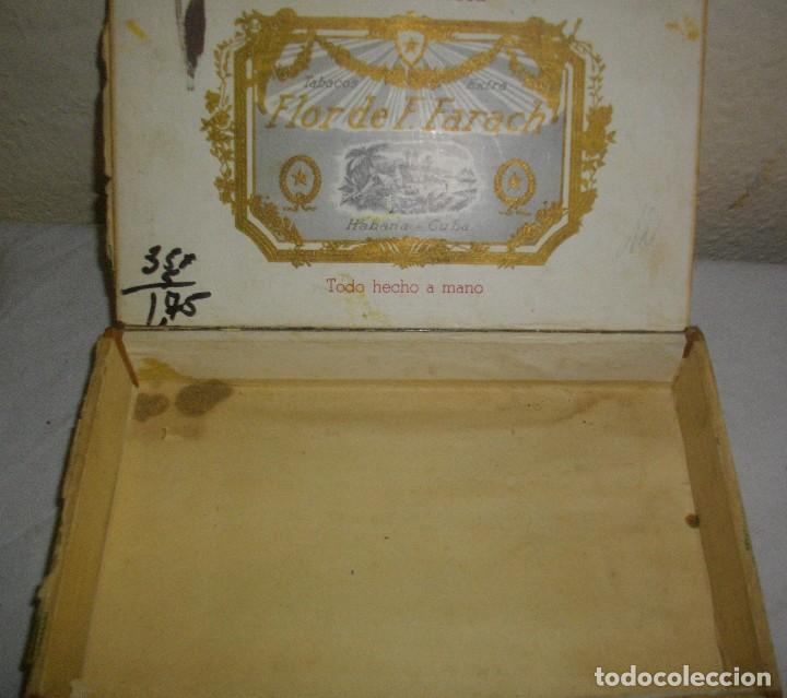 Cajas de Puros: CAJA DE PUROS HABANOS .-CUBA LA FLOR DE FARACHS (VACIA) PRE REVOLUCION - Foto 2 - 110190735
