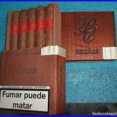 Cajas de Puros: CAJA DE PUROS BREÑAS DALIAS CON 5 PUROS HECHOS A MANO. Lote 110776715
