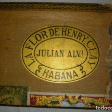 Cajas de Puros: CAJA DE PUROS HABANOS .-CUBA LA FLOR DE HENRRY CLAY (VACIA) PRE REVOLUCION. Lote 110191375