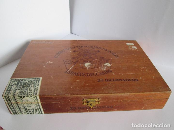 CAJA DE PUROS VACIA - COMPAÑIA DE TABACOS MERIDIONALES - TABACOS DEL CARIBE - 25 DIPLOMATICOS - 23,5 (Coleccionismo - Objetos para Fumar - Cajas de Puros)