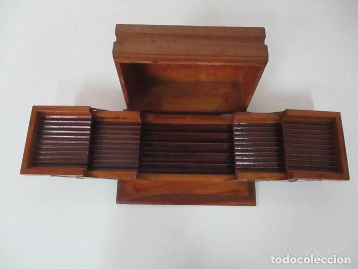 PRECIOSA CAJA DE PUROS Y CIGARRILLOS - MADERA DE OLIVO - CON DEPARTAMENTOS - BONITA DECORACIÓN TAPA (Coleccionismo - Objetos para Fumar - Cajas de Puros)