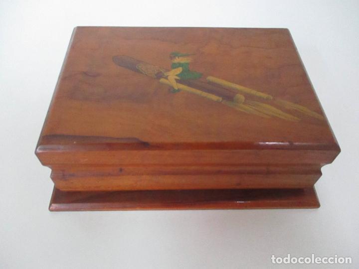 Cajas de Puros: Preciosa Caja de Puros y Cigarrillos - Madera de Olivo - con Departamentos - Bonita Decoración Tapa - Foto 2 - 112434847