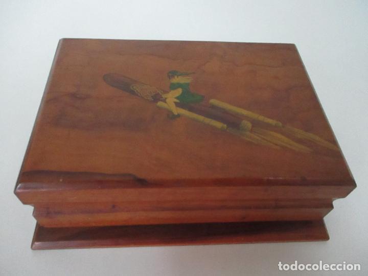Cajas de Puros: Preciosa Caja de Puros y Cigarrillos - Madera de Olivo - con Departamentos - Bonita Decoración Tapa - Foto 3 - 112434847