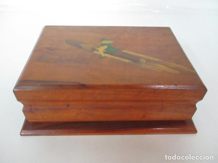 Cajas de Puros: Preciosa Caja de Puros y Cigarrillos - Madera de Olivo - con Departamentos - Bonita Decoración Tapa - Foto 4 - 112434847