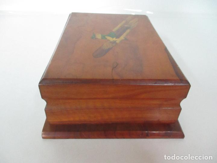 Cajas de Puros: Preciosa Caja de Puros y Cigarrillos - Madera de Olivo - con Departamentos - Bonita Decoración Tapa - Foto 8 - 112434847