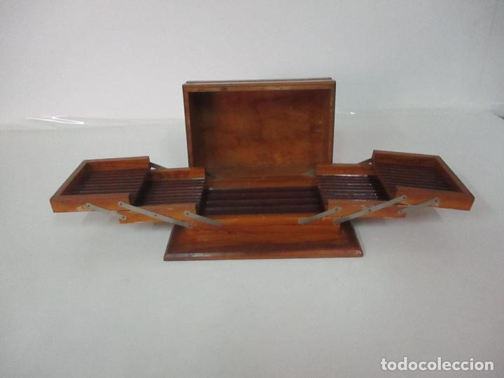 Cajas de Puros: Preciosa Caja de Puros y Cigarrillos - Madera de Olivo - con Departamentos - Bonita Decoración Tapa - Foto 14 - 112434847