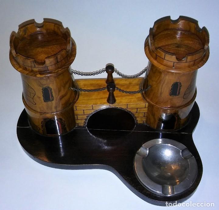 Cajas de Puros: Cenicero, purero, tabaquera, madera olivo tallado forma castillo, caja puros. Antiguo med. s XX - Foto 2 - 114215791