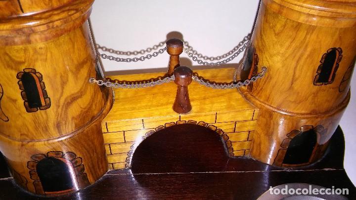 Cajas de Puros: Cenicero, purero, tabaquera, madera olivo tallado forma castillo, caja puros. Antiguo med. s XX - Foto 5 - 114215791