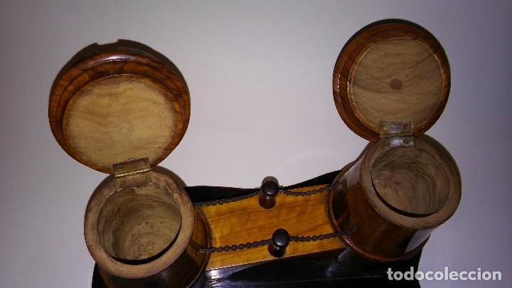 Cajas de Puros: Cenicero, purero, tabaquera, madera olivo tallado forma castillo, caja puros. Antiguo med. s XX - Foto 6 - 114215791