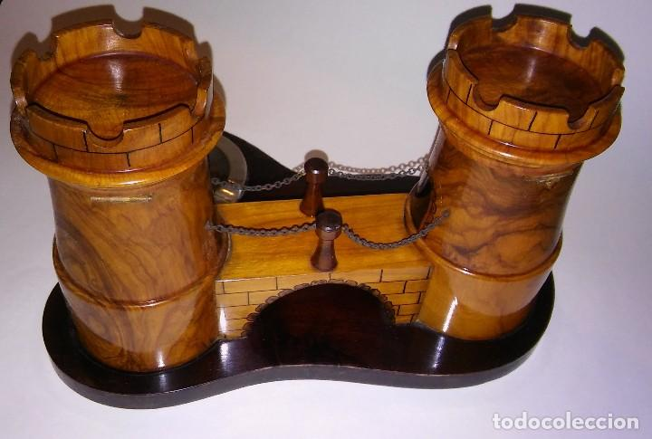Cajas de Puros: Cenicero, purero, tabaquera, madera olivo tallado forma castillo, caja puros. Antiguo med. s XX - Foto 11 - 114215791
