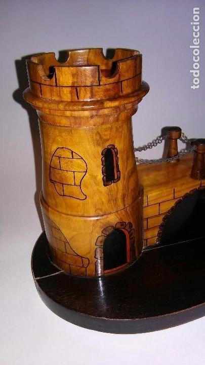 Cajas de Puros: Cenicero, purero, tabaquera, madera olivo tallado forma castillo, caja puros. Antiguo med. s XX - Foto 3 - 114215791