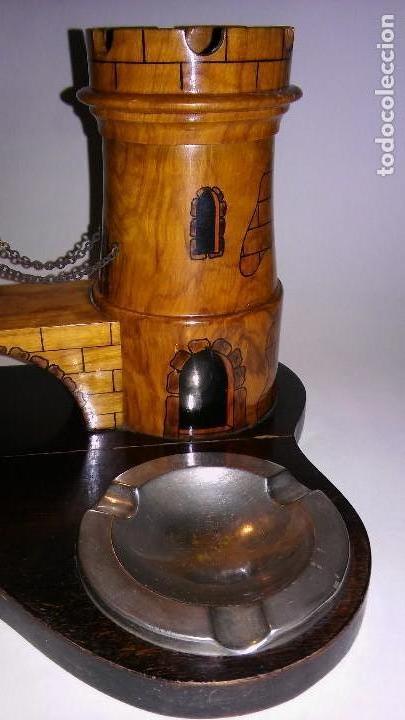 Cajas de Puros: Cenicero, purero, tabaquera, madera olivo tallado forma castillo, caja puros. Antiguo med. s XX - Foto 4 - 114215791