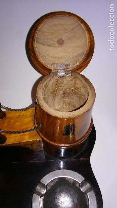 Cajas de Puros: Cenicero, purero, tabaquera, madera olivo tallado forma castillo, caja puros. Antiguo med. s XX - Foto 8 - 114215791