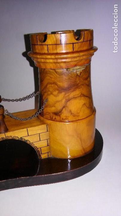 Cajas de Puros: Cenicero, purero, tabaquera, madera olivo tallado forma castillo, caja puros. Antiguo med. s XX - Foto 12 - 114215791