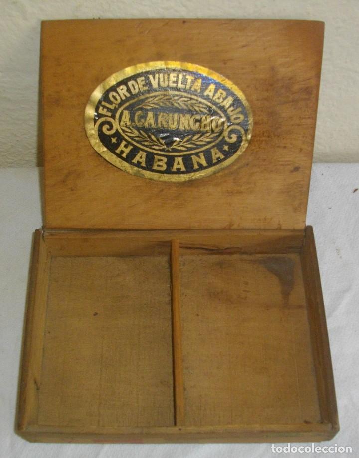 EXCLUSIVA CAJA DE PUROS HAVANOS 1875 LA FLOR DE CARUNCHO (VACIA ) SELLO IMPERIO ESPAÑOL (Coleccionismo - Objetos para Fumar - Cajas de Puros)