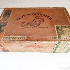 Cajas de Puros: ANTIGUA CAJA DE MADERA DE PUROS FLOR DE ALTA MAR. 100 VEGUEROS. Lote 115109011
