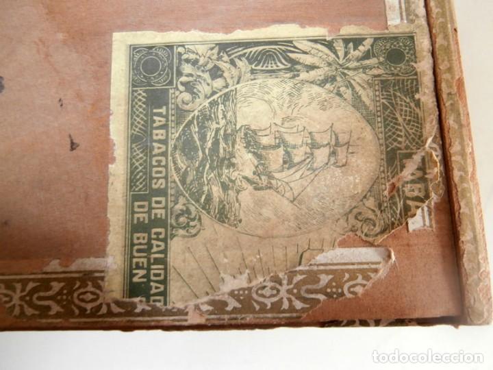 Cajas de Puros: ANTIGUA CAJA DE MADERA DE PUROS FLOR DE ALTA MAR. 100 VEGUEROS - Foto 4 - 115109011