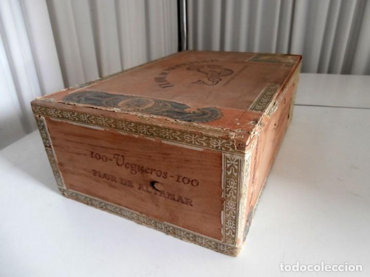 Cajas de Puros: ANTIGUA CAJA DE MADERA DE PUROS FLOR DE ALTA MAR. 100 VEGUEROS - Foto 7 - 115109011