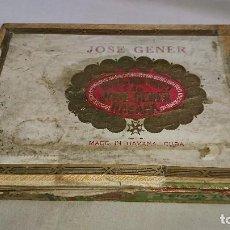 Cajas de Puros: ANTIGUA CAJA VACÍA DE MADERA DE PUROS JOSÉ GENER - HOYO DE MONTERREY - HABANA CUBA . Lote 116479403