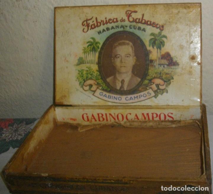 CAJA DE PUROS HABANOS GABINO CAMPOS ( VACIA- COLCC) EPOCA - PRE/ REBOLC (Coleccionismo - Objetos para Fumar - Cajas de Puros)