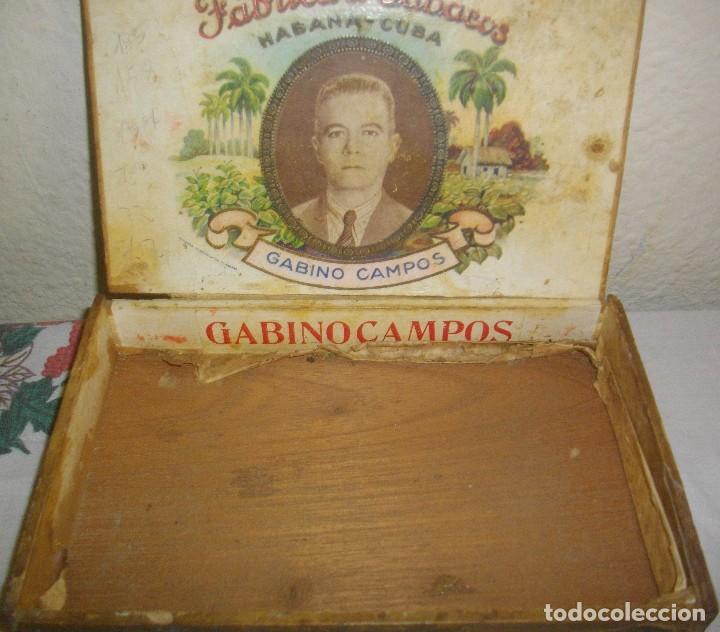 Cajas de Puros: CAJA DE PUROS HABANOS GABINO CAMPOS ( VACIA- COLCC) EPOCA - PRE/ REBOLC - Foto 3 - 120834743