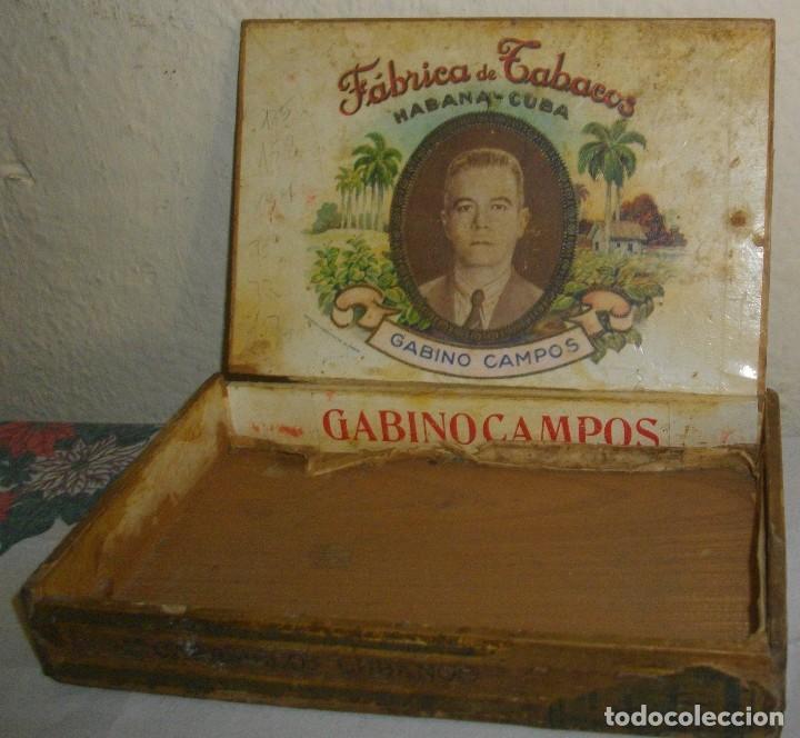 Cajas de Puros: CAJA DE PUROS HABANOS GABINO CAMPOS ( VACIA- COLCC) EPOCA - PRE/ REBOLC - Foto 4 - 120834743