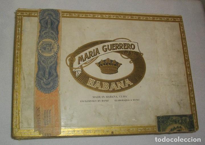 ANTIGUA CAJA DE PUROS VACIA , MARIA GUERRERO,(( ÉPOCA PRE REVOLUCIÓN, CUBA)) (Coleccionismo - Objetos para Fumar - Cajas de Puros)