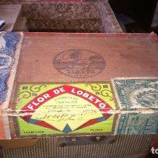Cajas de Puros: ANTIGUA CAJA DE PUROS FLOR DE LOBETO CUBA.. Lote 128227663