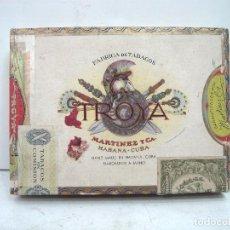Cajas de Puros: ANTIGUA CAJA MADERA PUROS - TROYA 25 UNIVERSALES ¡¡CON BOCETON¡¡ TABACO PURO CIGARROS MARTINEZ CIA . Lote 129474643