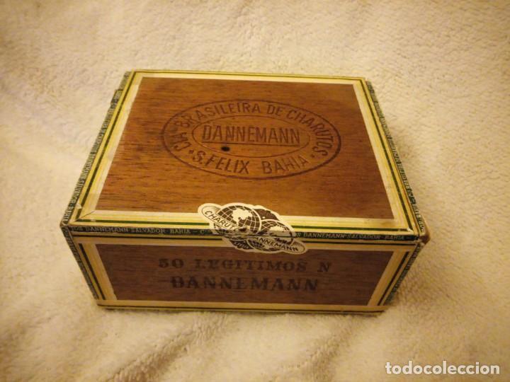 CAJA DE MADERA DE PUROS CIGARROS DANNEMANN BRASILEIRA CHARUTOS S FELIX BAHÍA.LEGITIMOS N. (Coleccionismo - Objetos para Fumar - Cajas de Puros)