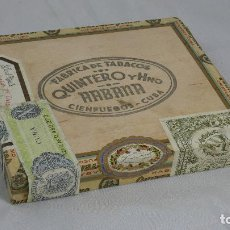 Cajas de Puros: ANTIGUA CAJA DE PUROS, FABRICA DE TABACOS QUINTERO Y HNO, HABANA. CIENFUEGOS CUBA. SIN ABRIR.. Lote 135706015